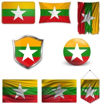 Set der nationalen flagge von myanmar