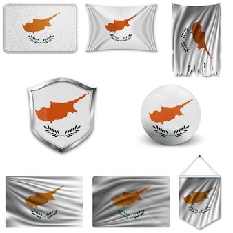 Set der nationalen flagge von zypern