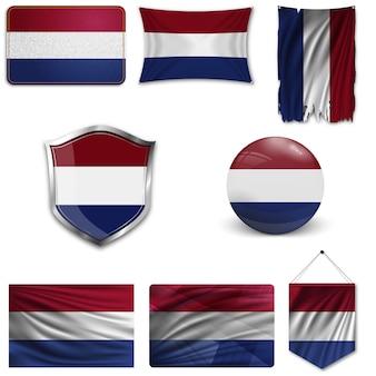 Set der nationalflagge der niederlande