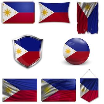 Set der nationalflagge der philippinen