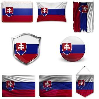 Set der nationalflagge der slowakei