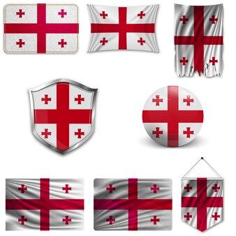 Set der nationalflagge georgiens