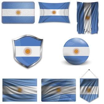 Set der nationalflagge von argentinien