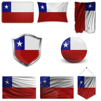 Set der nationalflagge von chile