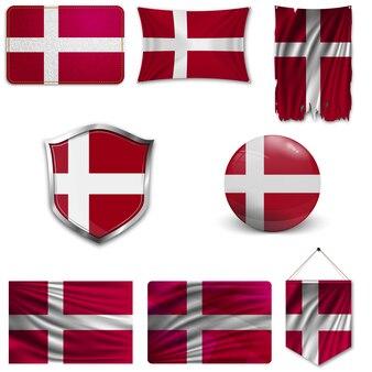 Set der nationalflagge von dänemark