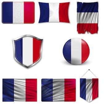 Set der nationalflagge von frankreich