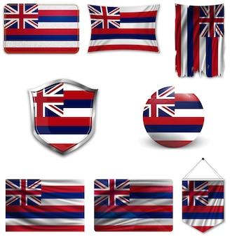 Set der nationalflagge von hawaii