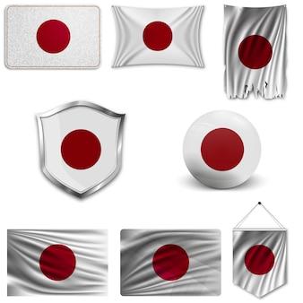 Set der nationalflagge von japan