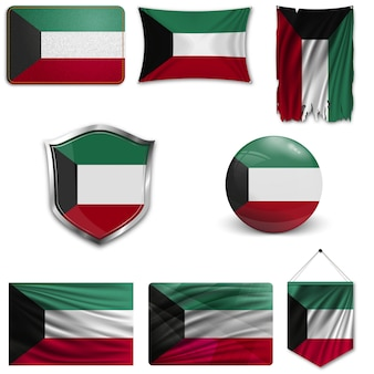 Set der nationalflagge von kuwait