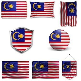Set der nationalflagge von malaysia