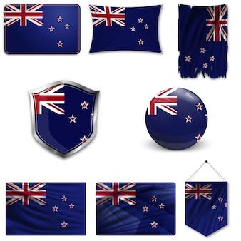 Set der nationalflagge von neuseeland