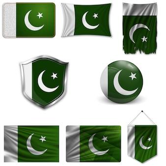 Set der nationalflagge von pakistan