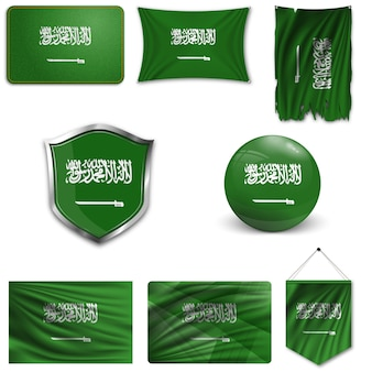 Set der nationalflagge von saudi-arabien