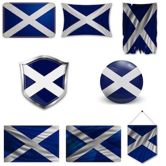 Set der nationalflagge von schottland