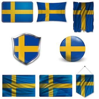 Set der nationalflagge von schweden