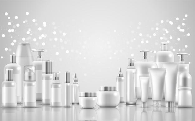 Set der natürlichen schönheitsproduktverpackung der hautpflege