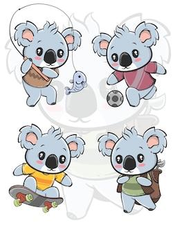 Set der outdoor-aktivität niedlichen koala-zeichentrickfigur - alles hobby