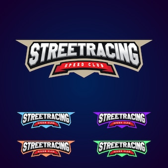 Set der power voller street racing sport typografie