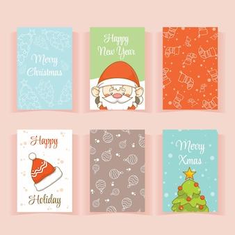 Set der sammlung süße weihnachtsgrußkarte