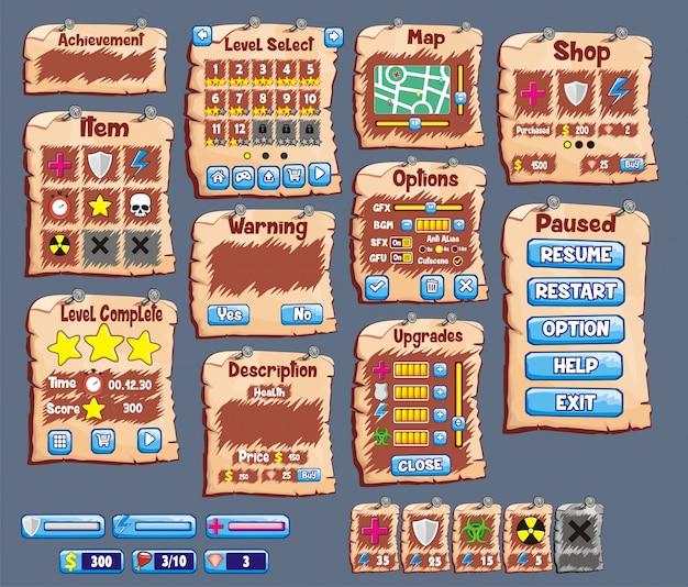 Set der spielschnittstelle mit knöpfen, status und element