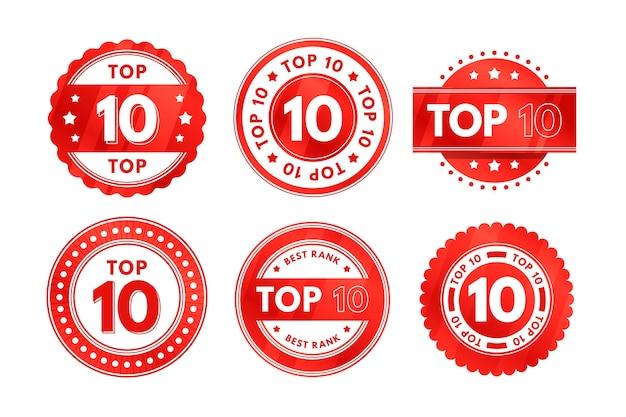 Set der top ten abzeichen