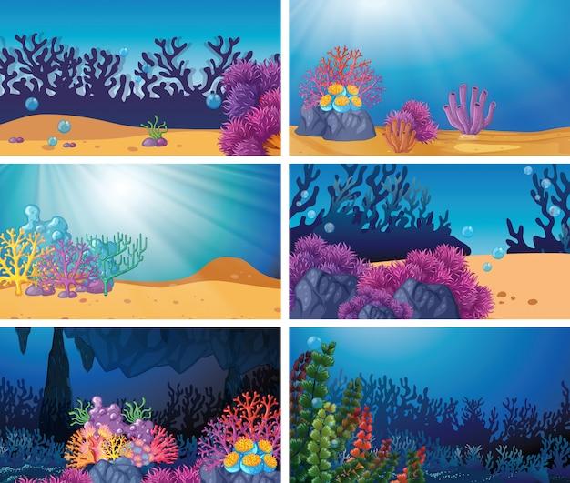 Set der unterwasserszene