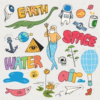 Set der verschiedenen karikaturvektorillustration