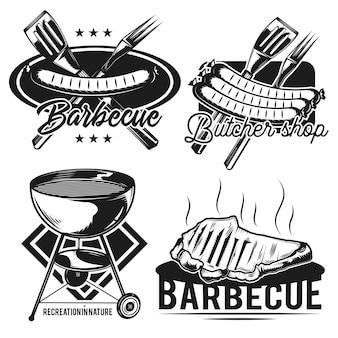 Set der vintage-embleme des grills