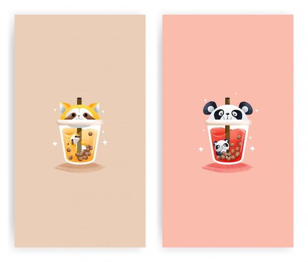 Set der vorlage glas orangensaft waschbär und das glas wassermelonensaft mit panda.