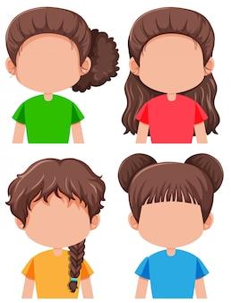 Set der weiblichen figur des brunette