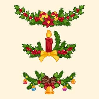 Set der weihnachtsgirlande in der karikaturart