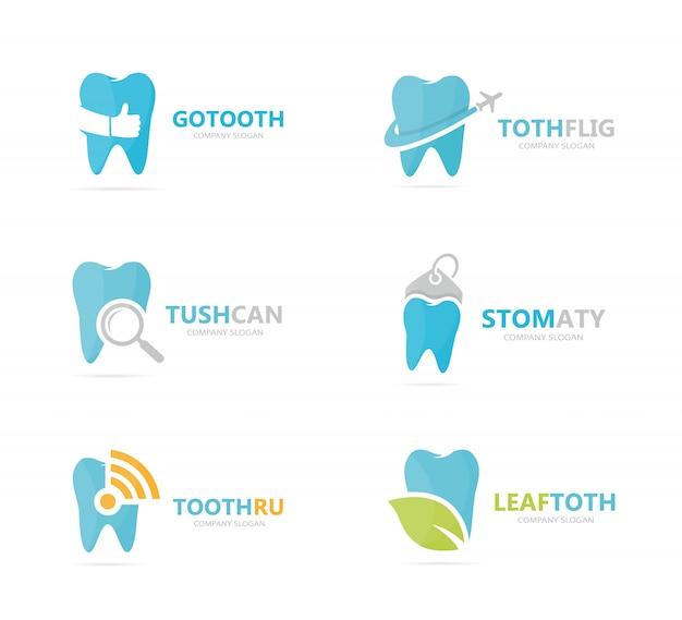 Set der zahnzeichenkombination. entwurfsvorlage für zahnärztliche und mündliche logos.