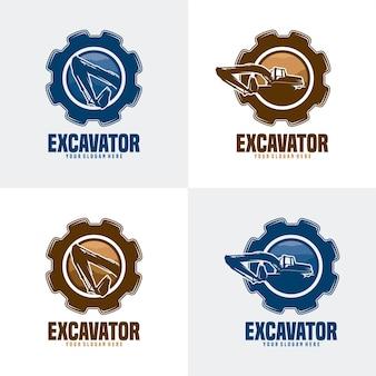 Set des baggermaschinenbau-logos Premium Vektoren