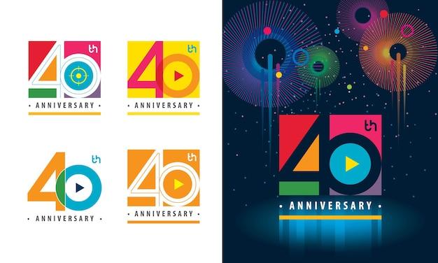 Set des bunten logos des 40. jahrestages