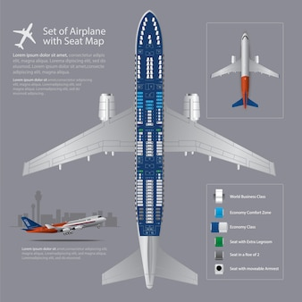 Set des flugzeuges mit seat map isolated illustration