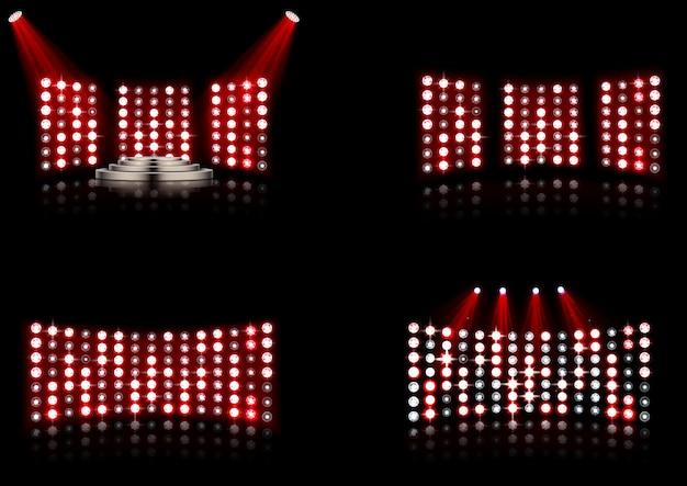 Set des hellen stadionarena-scheinwerfers