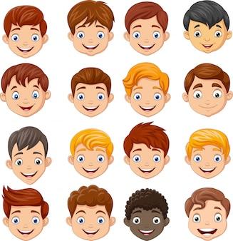 Set des karikaturkinderkopfes