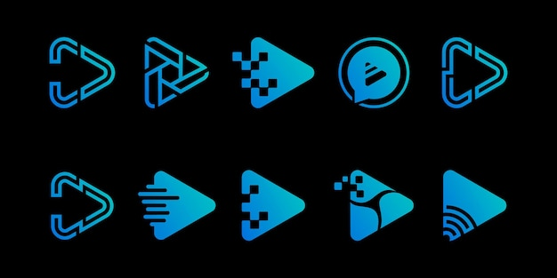 Set des multimedia-logos der play-taste premium-vektoren