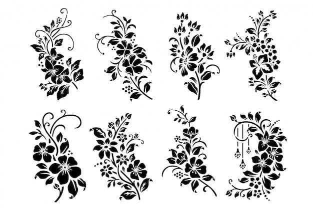 Set des schwarzweiss-blumenausschnitts