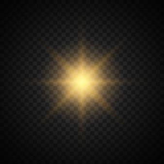 Set des sternes mit scheinen. gelbes licht. funkelnder staub.