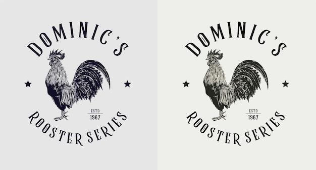Set des vintage-logos der dominic rooster-serie