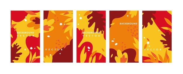 Set design bunte vorlagen hintergründe - social media story wallpaper. herbstverkauf, social media werbeinhalte mit sturzelementen.
