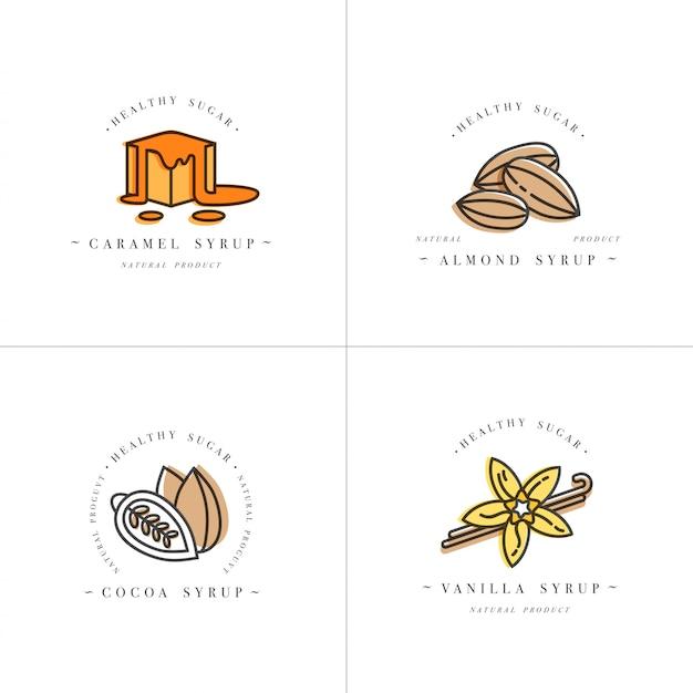 Set design bunte vorlagen logo und embleme - sirupe und toppings-karamell, mandel, kakao, vanille. lebensmittelikone. logos im trendigen linearen stil lokalisiert auf weißem hintergrund.