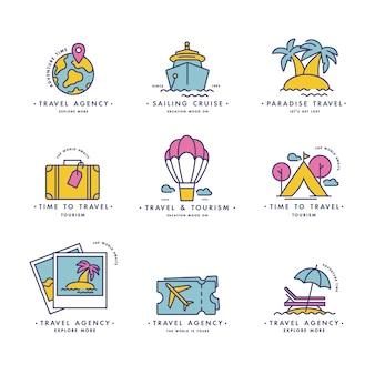 Set design bunte vorlagen logos und embleme - reisebüro und verschiedene arten von tourismus. trendiger linearer stil isoliert.