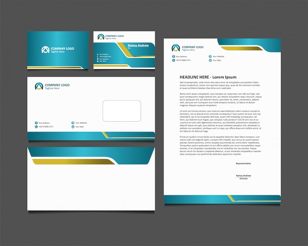 Set design stationär. business corporate identity mit farbe corporate hijau tosca