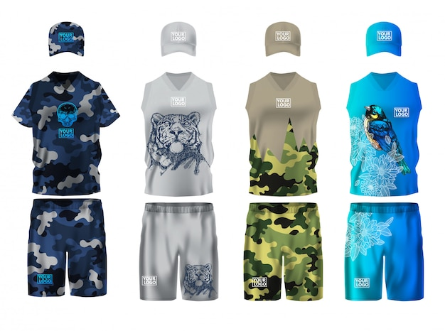 Set-design-vorlage für sportbekleidung