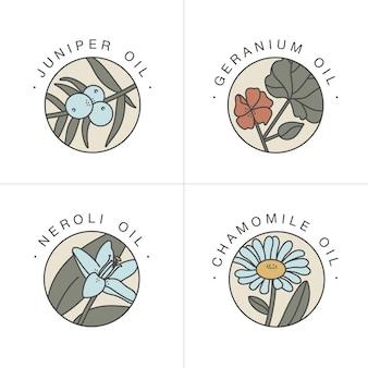 Set design vorlagen und embleme gesunde und kosmetische öle