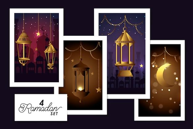 Set designs laternen hängen und dekoration von ramadan kareem