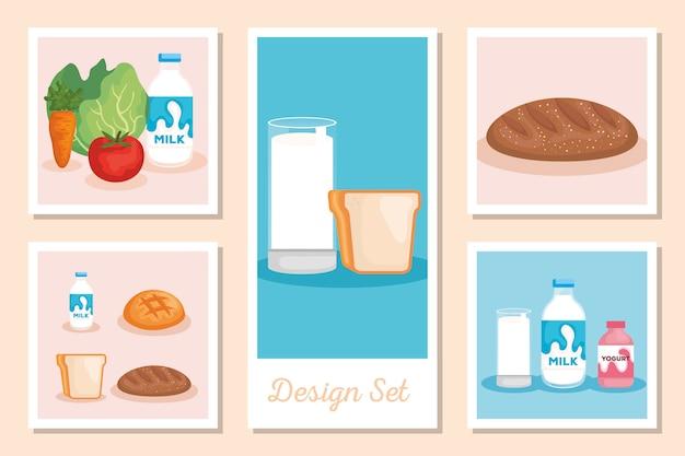 Set-designs von gesunden lebensmitteln