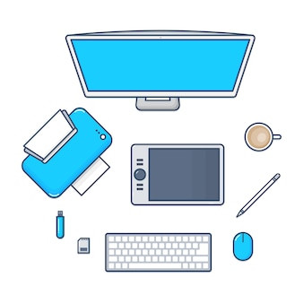 Set desk-technologie mit pc-computer, drucker, mausstift, tastatur, flash-laufwerk, sd-karte flat line design icons. illustration.